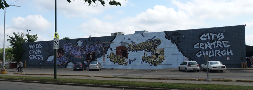 The entire mural from across the street.
