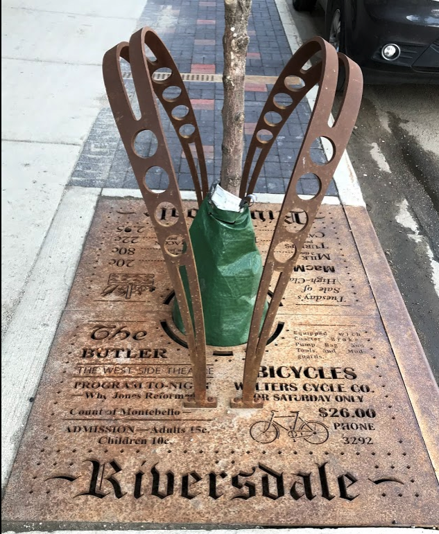 Loved these bike racks/tree grates that also tells the history of the Riversdale community in a fun way.
