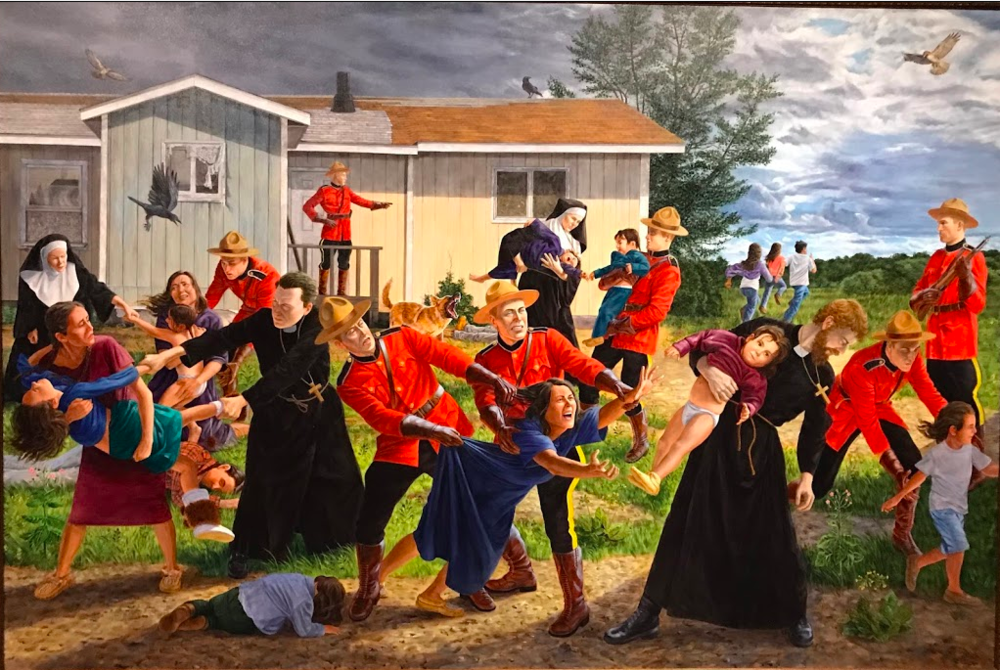 "The Kent Monkman exhibition at the Nova Scotia Art Gallery exhibition titled, ""Shame and Prejudice"" A Story of Resilience, was a very clever and thoughtful exhibition. Titled ""The Scream,""this painting speaks to the pain and trauma caused by the Canadian government's removal of children from their indigenous families to go to residential schools."