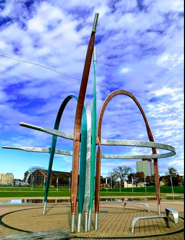 "Titled ""Lace Up"" this artwork by Ilan Sandler was created 2013 next to the outdoor Emera Oval created for the Canada Games. Love that the City offers free rental of ice skates in the winter and rollerblades and bikes in the summer for anyone who wants to use the oval."