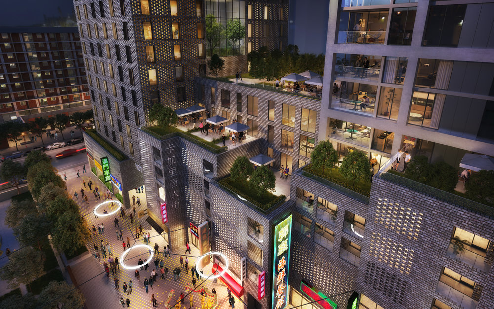 Rendering of the proposed pedestrian mews with shops, cafes and restaurants at street level with hotel and residential above.