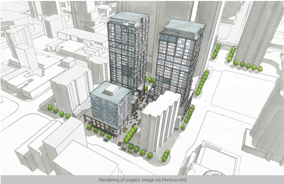 Rendering of the the two residential and one hotel tower that is proposed for the Chinatown parking lot above.