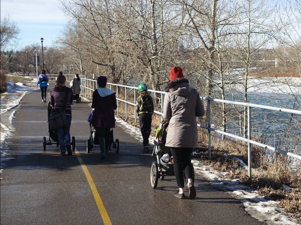 While Downtown West doesn't have a fancy river pathway like Eau Claire or East Village, it does have a very functional pathway along the Bow River that includes the Nat Christie Park. The Downtown West pathway is popular place for Calgarians of all ages to stroll year-round .