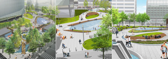 The new Century Gardens will be more open and better linked to the streets. It will included a space for a cafe and will have a splash pond for families.
