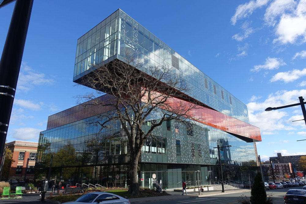 Halifax's new Central Library reminded me of shipping containers being stacked one on top of another, which is a perfect metaphor for the city as it is a major container port.