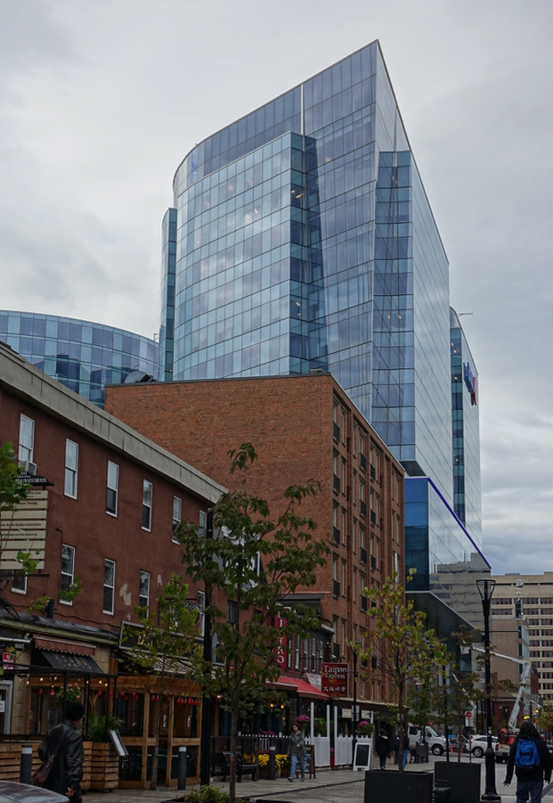 Halifax's Argyle Street with its new convention centre office tower in the background has the mix of the old and the new reminded me of Calgary's Stephen Avenue.