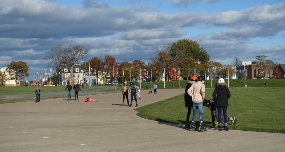 The Halifax Commons is a huge park that has playing fields, a skateboard park and the Emera Oval that in is an ice skating oval in the winter and a roller blading, cycling oval in the summer. It even has FREE rentals for tourists who want to give it a try. The Caglary equivalent would be Shaw Millennium Park.