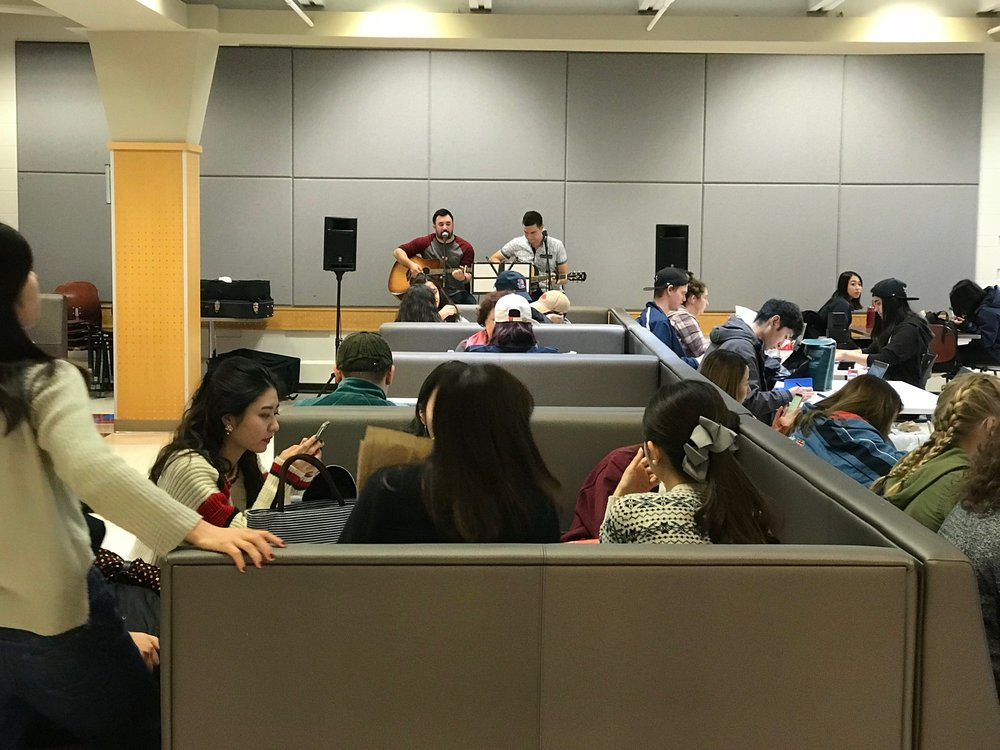 Live music in the cafeteria at lunch at St. Mary's University was a nice touch.