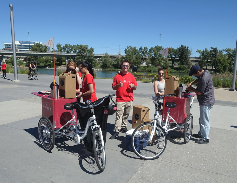 Calgary's Riverwalk is such a popular cycling spot, these guys decided to set up a pop-up cafe.