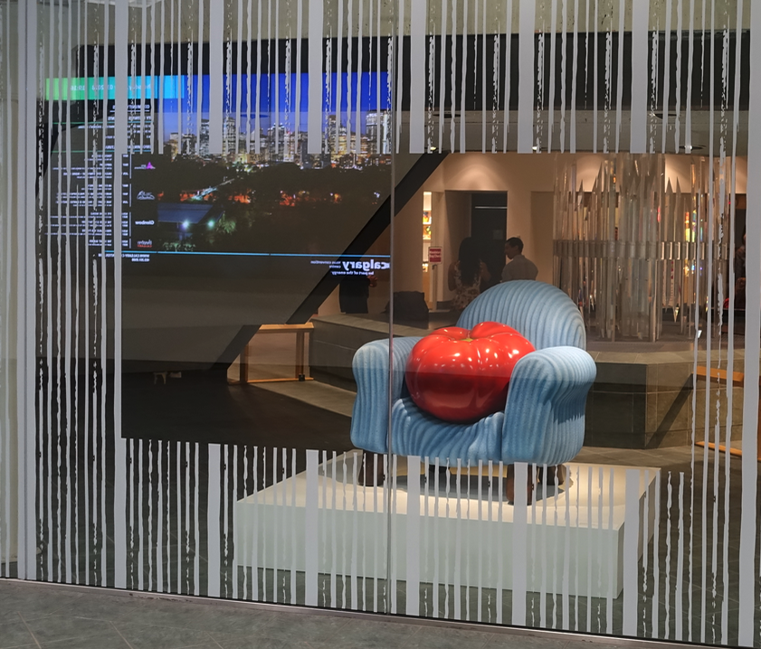 "Love this play on the term ""couch potato"" by Regina artist, Victor Cicansky in the window at the Glenbow in downtown Calgary. It had a personal meaning for me as I have small Cicansky piece of a chair with a potato in our collection. I must get to the Glenbow more in 2019!"