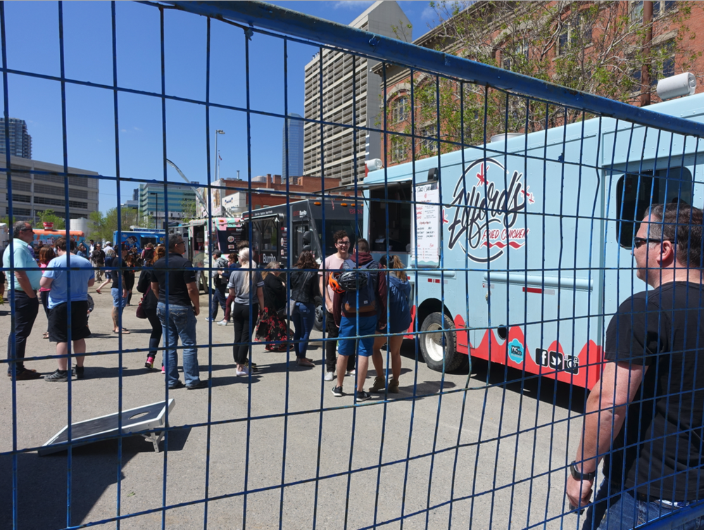On any given weekend a surface parking lot can become a music food truck venue.