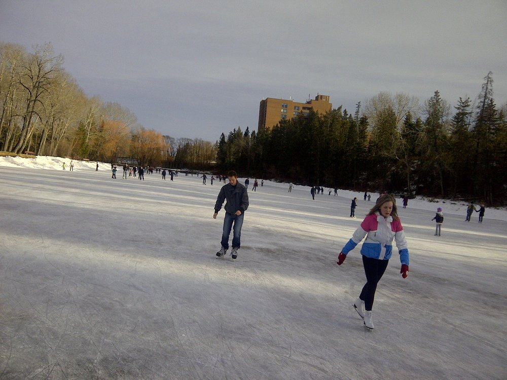 The pond at Bowness Park is a great place to skate in the winter and paddle in the summer.