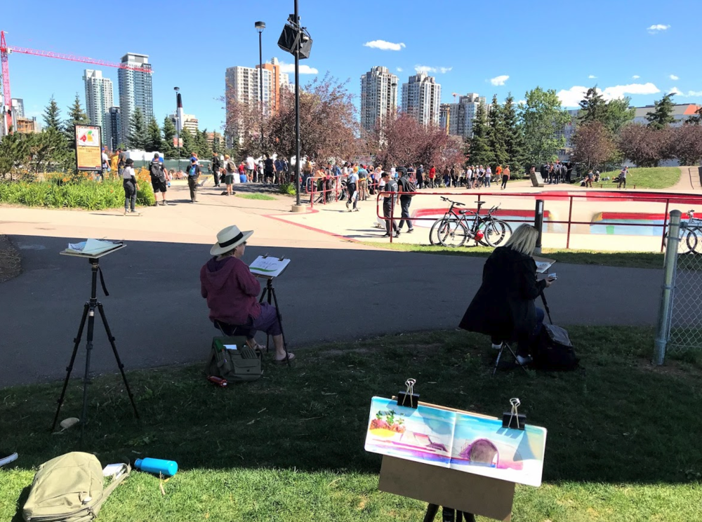 Recreation can also include an afternoon of painting in the park.