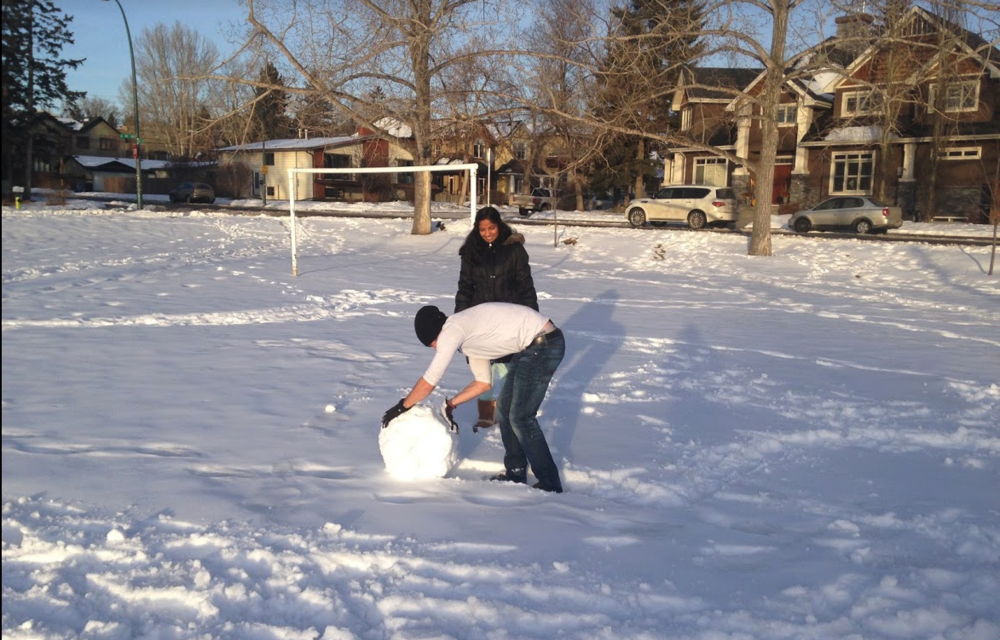Stopping to make a snowman just because you the mood strikes you as this couple did is also a recreational activity.