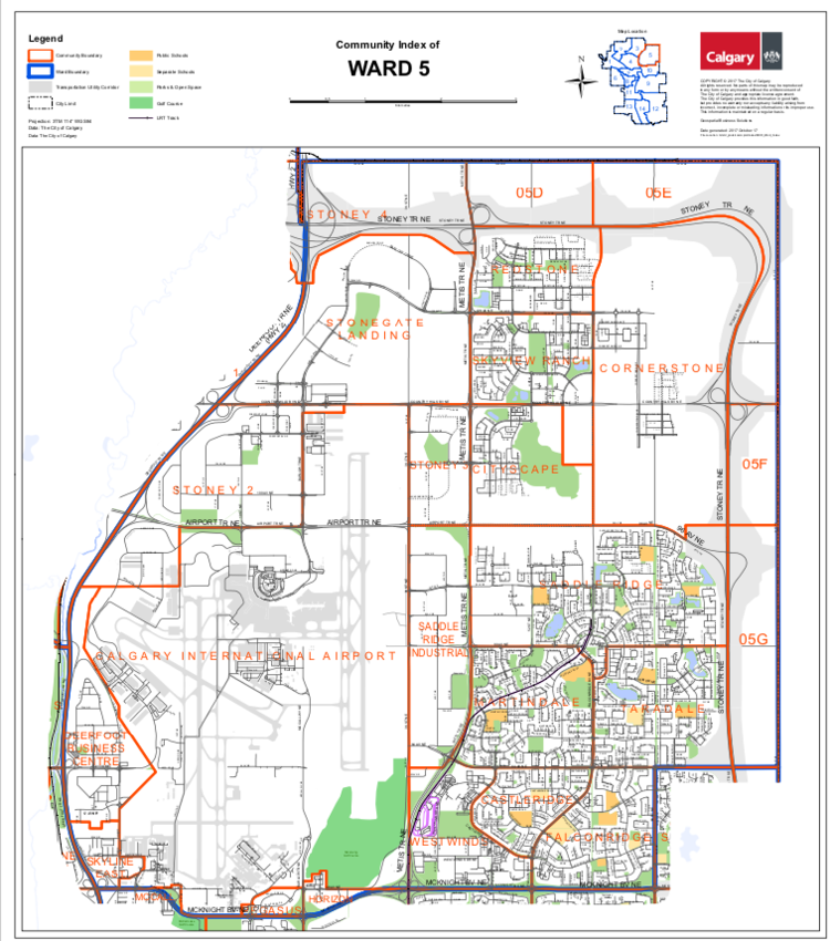 Ward 5 is dominated by the Calgary International Airport that takes up almost half of the landscape.