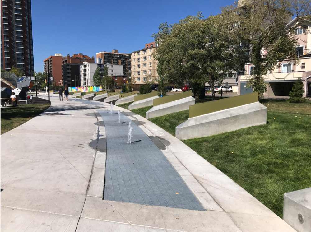 The new Thompson Family Park. Calgary's City Centre is blessed with dozens of parks, plazas and pathways.
