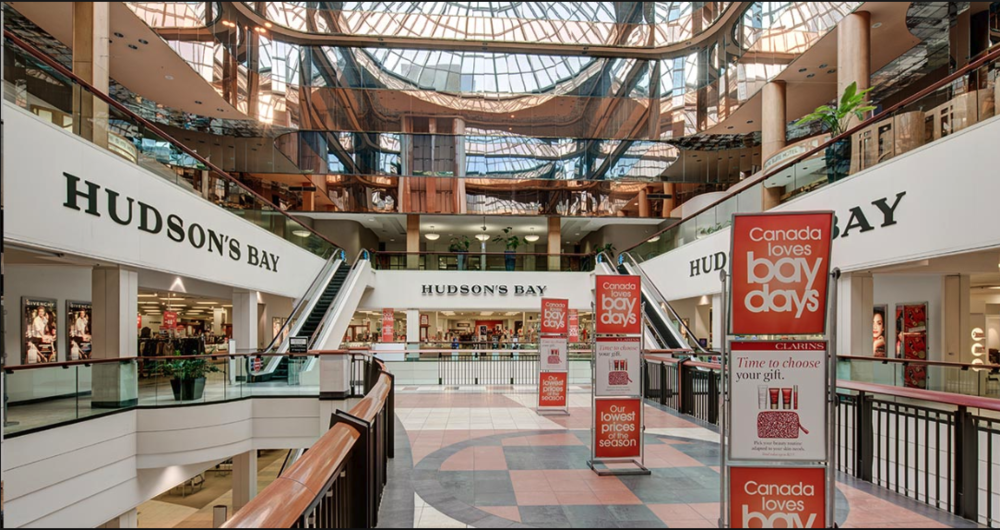 Edmonton's City Centre is a multi-storey indoor shopping centre with a huge skylight.