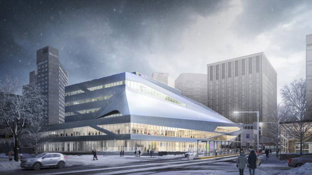 Conceptual image of renovated Central Library on the edge of Churchill Square.