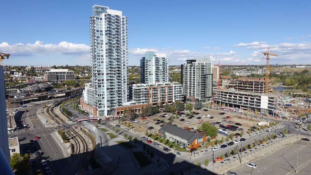 This is an image of just four blocks of Calgary's East Village with numerous new condo towers already completed and more under construction.