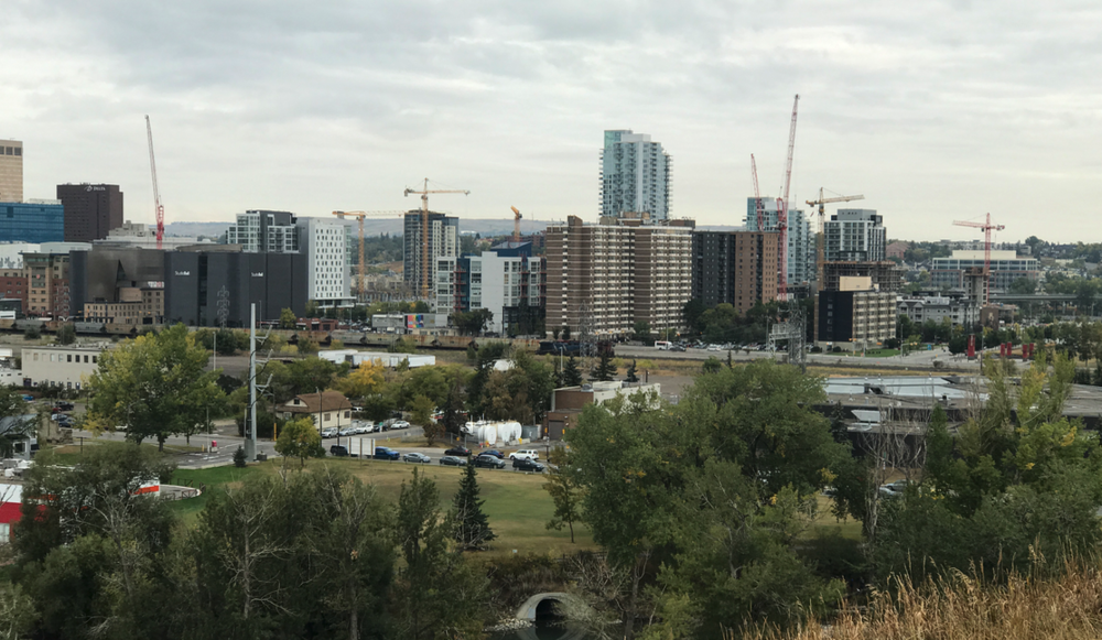Construction cranes in Calgary's East Village, September 2017. Does this look like a downtown in decline?