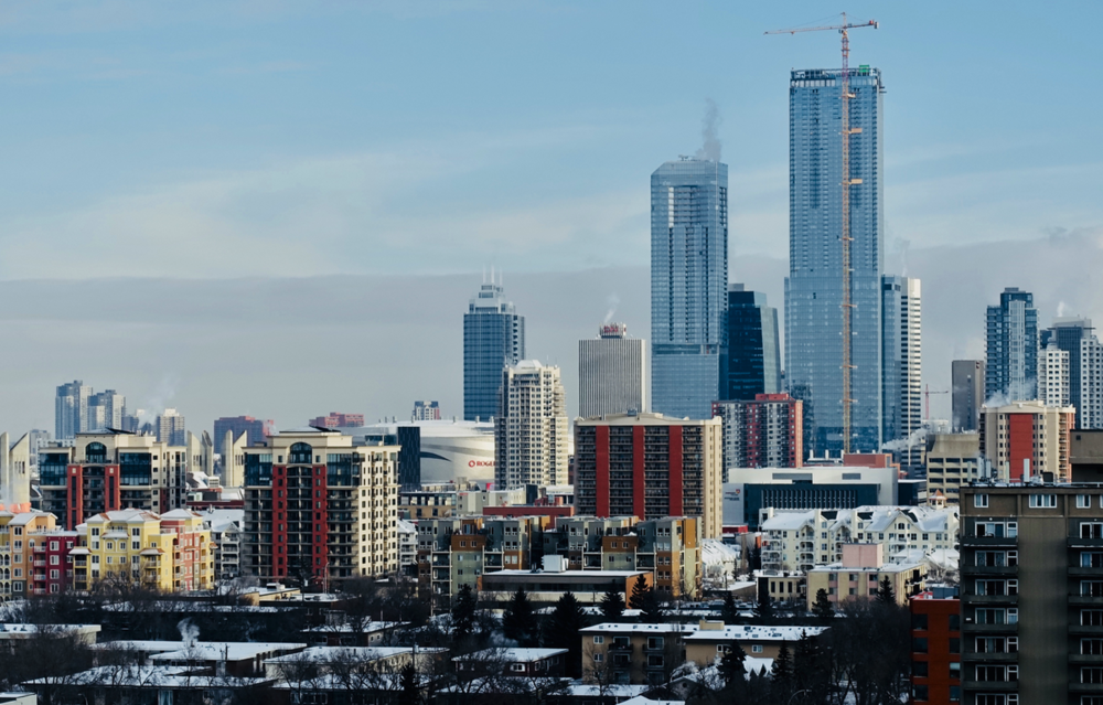 Edmonton's Ice District skyline January 2019.