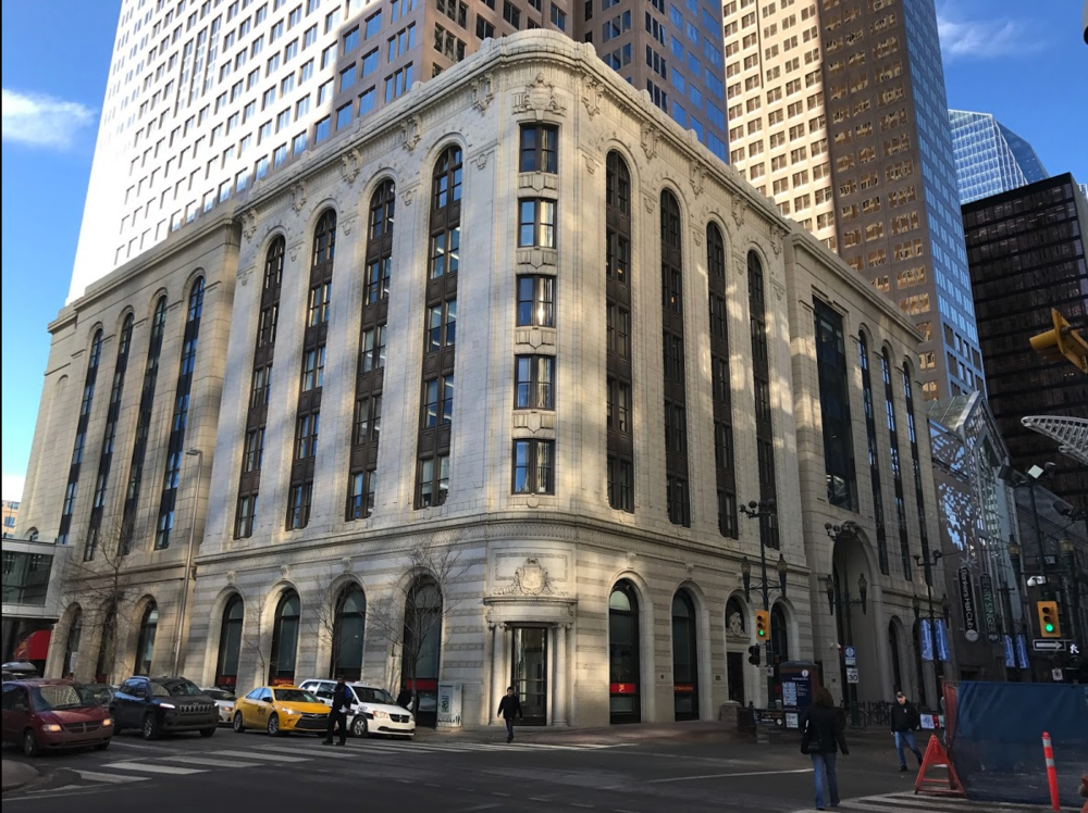 The historic Canada Life Assurance Building, also know at the Hollingsworth Building built in 1913 was incorporated into the Bankers Hall project.
