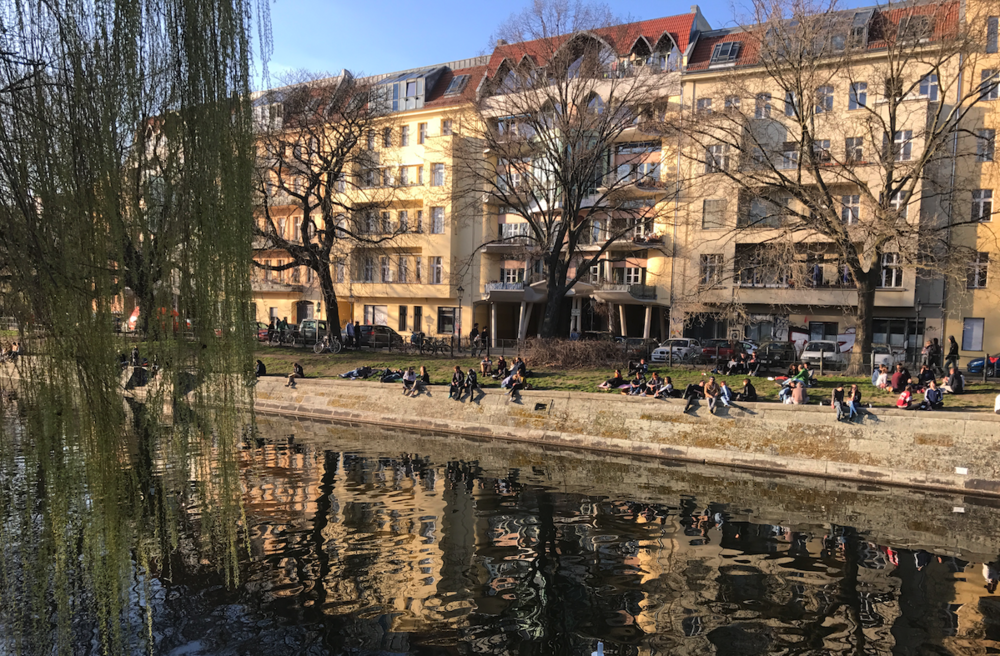 In Berlin the river is lined with mid-rise residential development and the river becomes their front yard.