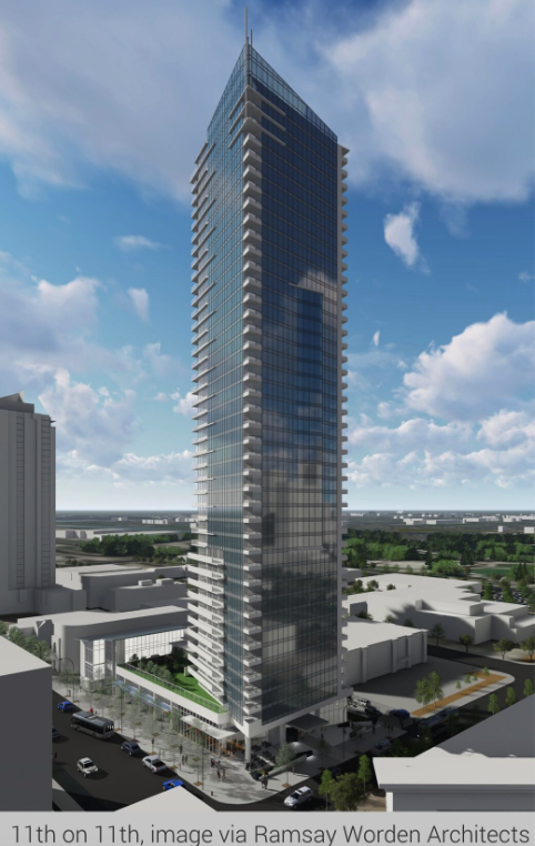 InterGulf's 11th and 11th residential tower on the west side of the Beltline is also under construction.