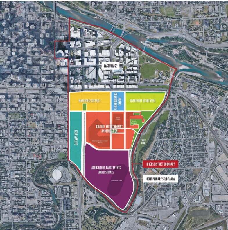 "The new Victoria Park / Stampede Park Master Plan establishes seven districts with the Culture, Entertainment and Education District in the middle. The words ""culture and education"" have been dropped in most conversations. It is a new ""Entertainment District."" It is essentially a new arena (event centre) and expanded BMO Centre with a Main Street along Olympic Way from 10th to 17th Ave SW)."