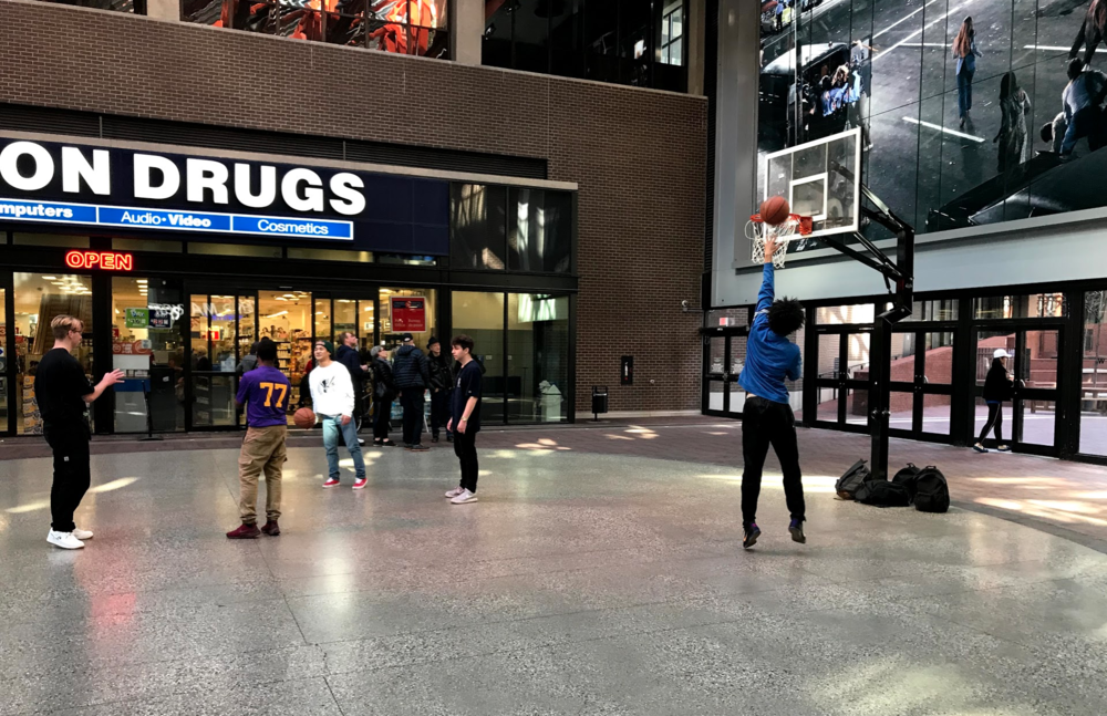 Was surprise to find an indoor basketball court as part of the redevelopment of the block with the old Woodward Department Store. These guys were having a fun pick-up game.