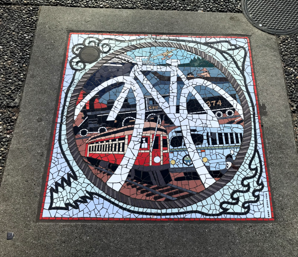 Keep your eyes on the ground and you will be rewarded with these fun mosaics at the corners in downtown.