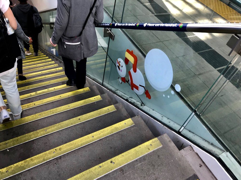 Even TransLink joins in the fun with this snowman icon warning people to be careful on the stairs at the stations.  Seem strange that Vancouver would use a snowman - ironic humour?