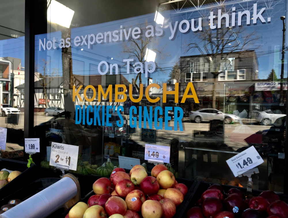 "Yes it has the organic grocer offering Kombucha ""that is not as expensive as you think,"" but there are several older grocery stores that look like they have been there since the '60s."