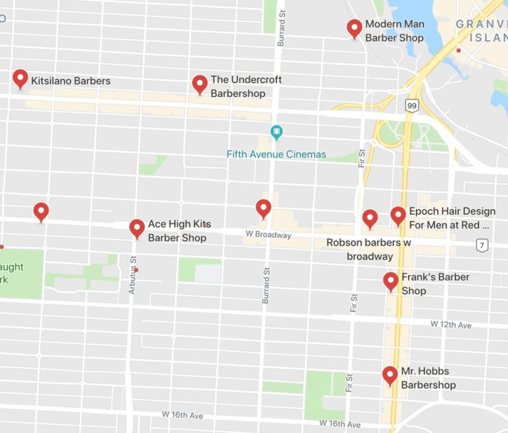 In Kitsilano these barbershops show up on google maps.