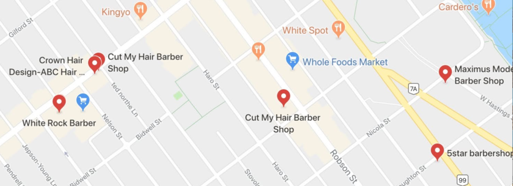 Move west in downtown nearer to Stanley Park and Coal Harbour and here are the barbershops that populate Google Maps.