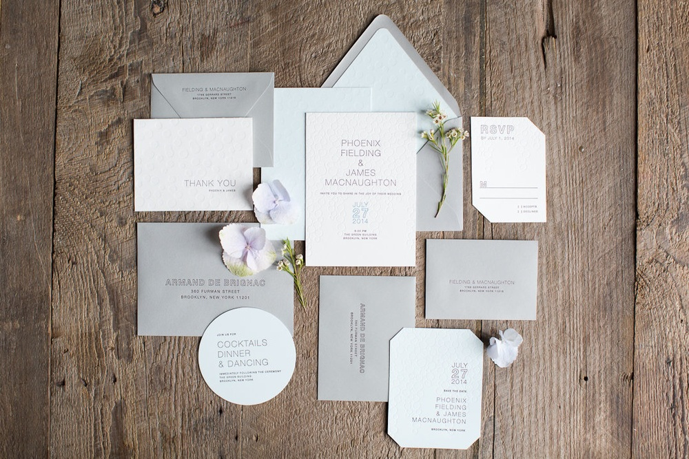 "LETTERPRESS INVITATION SUITE WITH ""BUBBLY"" NAMES"