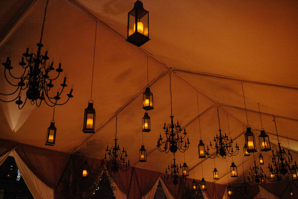 LANTERNS HANGING FROM THE CEILING