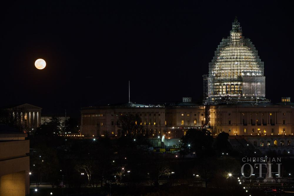 THE CAPITOL AT NIGHT & A FULL MOON