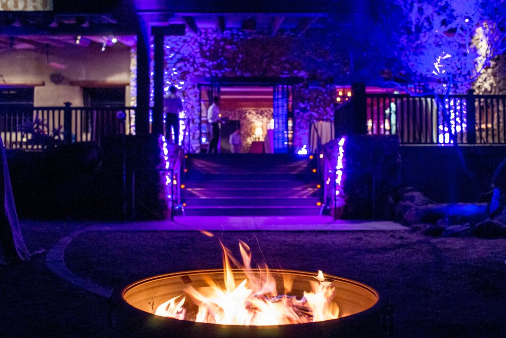 Fire pits in front of the restaurant
