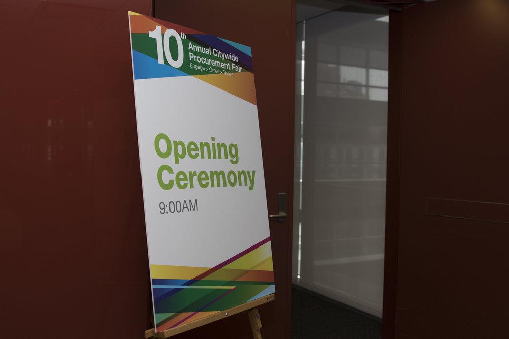 Opening ceremony signage