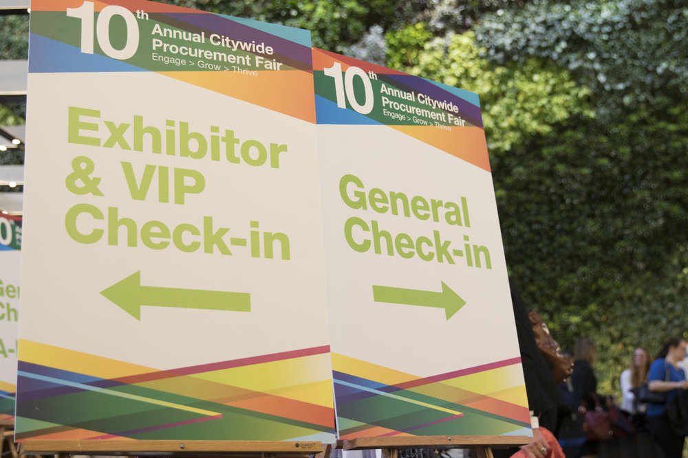 Check-in Signage for the Procurement Fair
