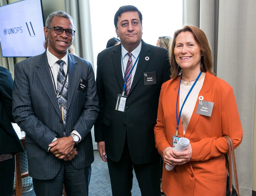 UNEP ASSISTANT SECRETARY GENERAL ELLIOTT HARRIS, UNOPS DIRECTOR IN ASIA SANJAY MATHUR, AND UNOPS EXECUTIVE DIRECTOR GRETE FAREMO
