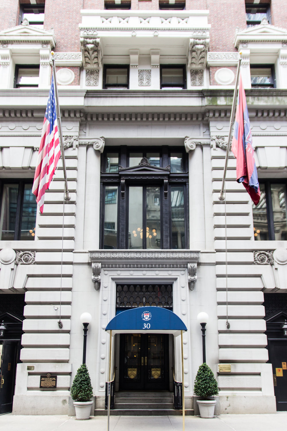 The elegant and classic entrance to Penn Club