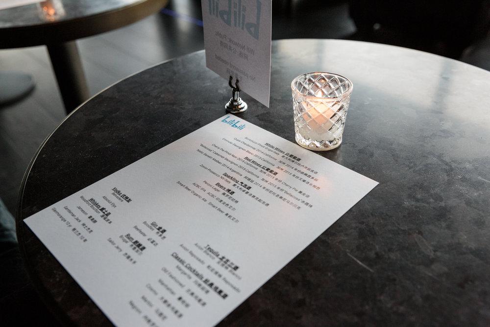 Bilingual bar menus