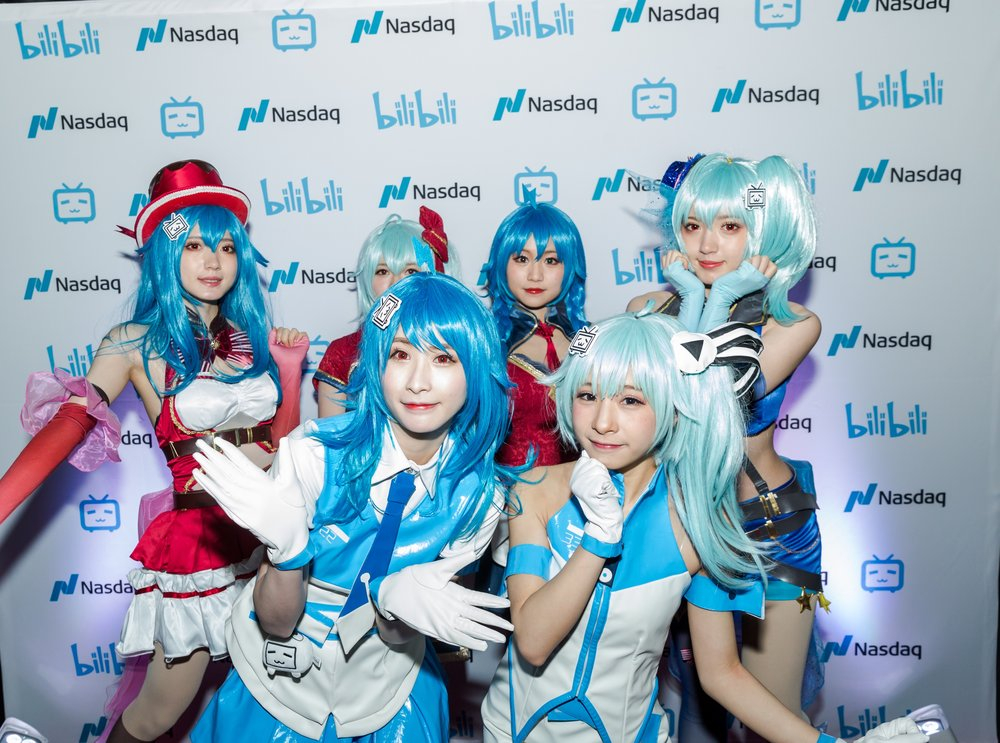 Customized BiliBili step and repeat with cosplay characters