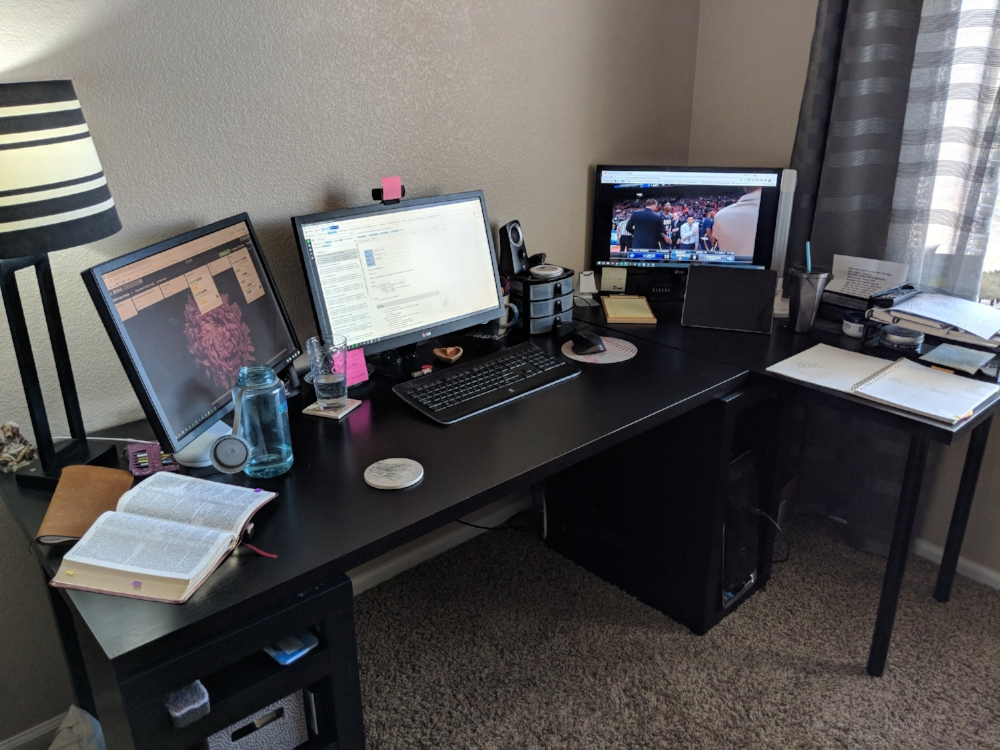 my home office setup not elegant but itu0027s perfect for the way my41 office