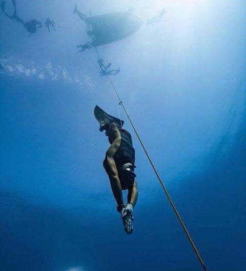 My brother Mike Board free diving in Gili