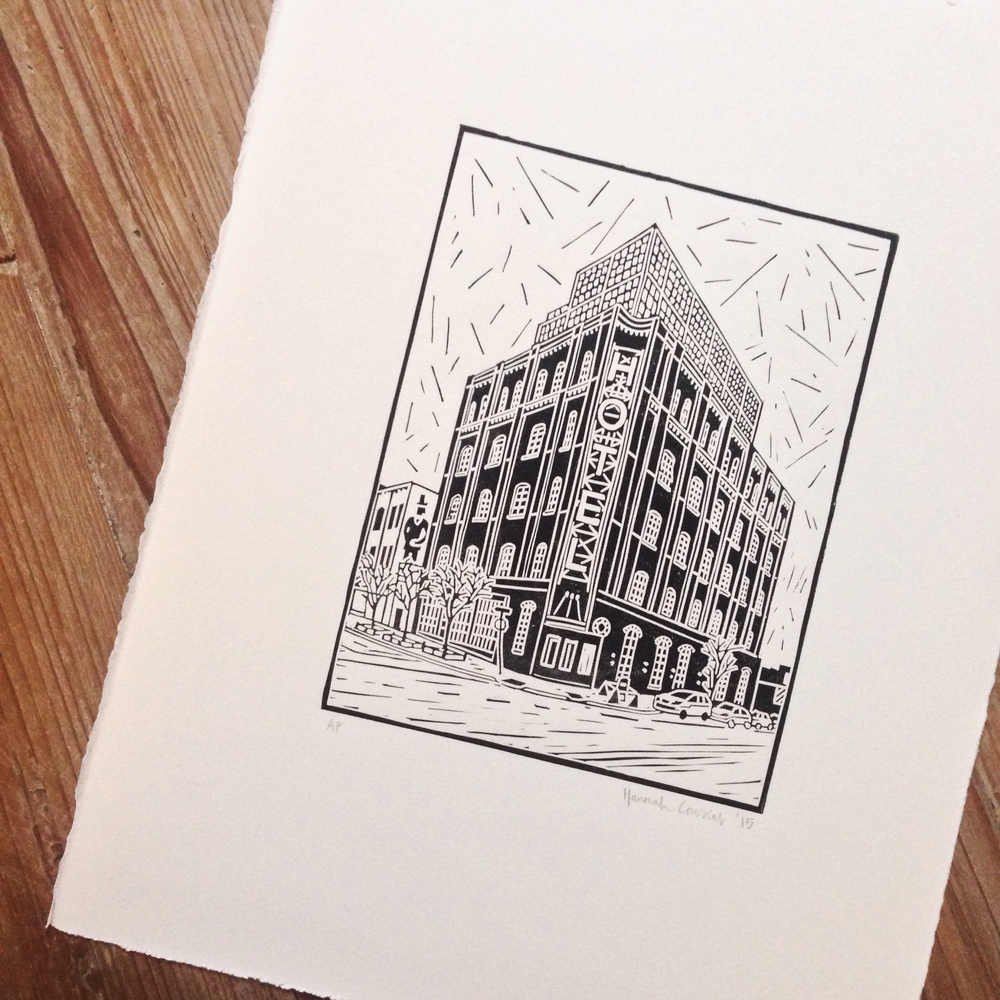 First lino print of 2015: The Wythe, Brooklyn, NY