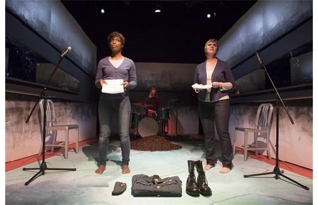 Left to right: Kim Nelson, Lynette Gillis, Deborah Drakeford in One Little Goat's S—/W—