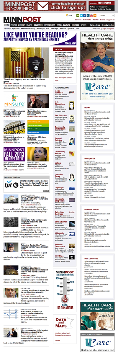A screenshot of MinnPost's home page from Oct. 1, 2013.
